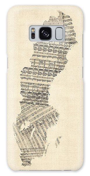 Sweden Galaxy Case - Old Sheet Music Map Of Sweden by Michael Tompsett