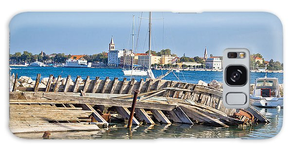 Old Sinked Wooden Ship In Zadar Galaxy Case by Brch Photography