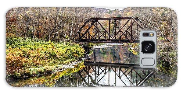 Metal Leaf Galaxy Case - Old Vermont Train Bridge In Autumn by Edward Fielding