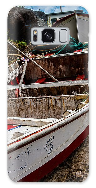 Old Wooden Fishing Boat On Dock  Galaxy Case