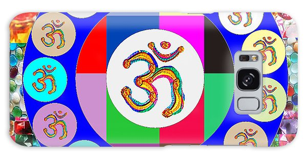 Om Mantra Dedication  Devotion Symbol Assembly By Artist N Reiki Healing Master Navinjoshi Galaxy Case by Navin Joshi