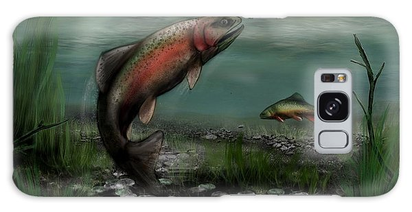 On The Attack - Rainbow Trout After A Fly Galaxy Case by Ron Grafe