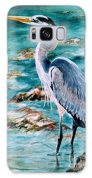 On The Rocks Great Blue Heron Galaxy Case by Roxanne Tobaison