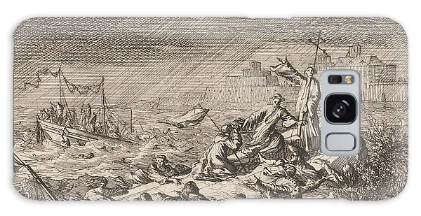 Shipwreck Galaxy Case - On The Vistula In Warsaw Poland, Two Ships With Clergy by Caspar Luyken And Pieter Van Der Aa I