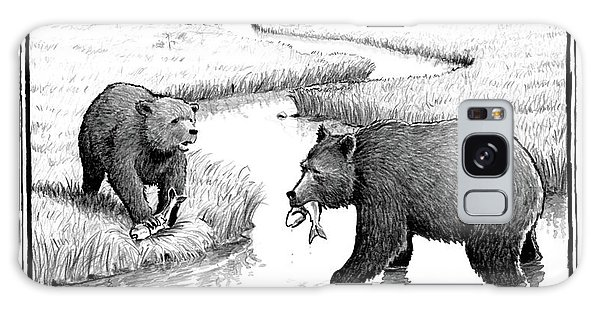 One Bear Speaks To Another As They Catch Fish Galaxy Case