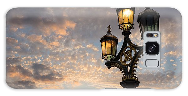 One Light Out - Westminster Bridge Streetlights - River Thames In London Uk Galaxy Case by Georgia Mizuleva