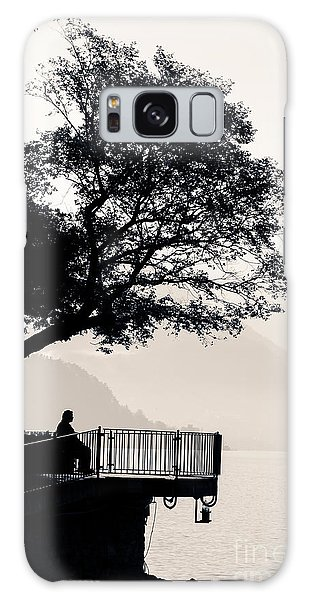One Old Man Sitting In Shade Of Tree Overlooking Lake Como Galaxy Case