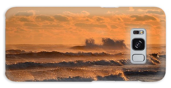 Opal Beach Sunset Colors With Huge Waves Galaxy Case by Jeff at JSJ Photography