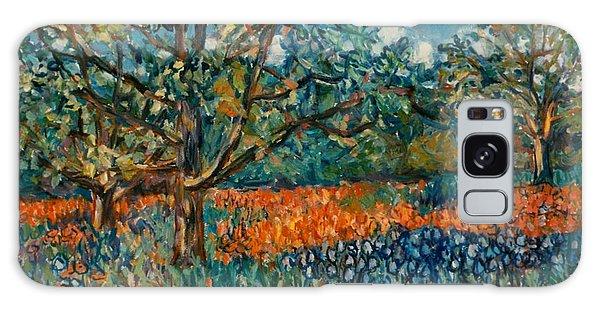 Orange And Blue Flower Field Galaxy Case