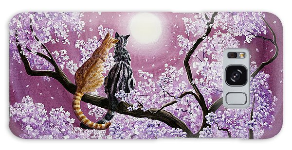 Orange And Gray Tabby Cats In Cherry Blossoms Galaxy Case