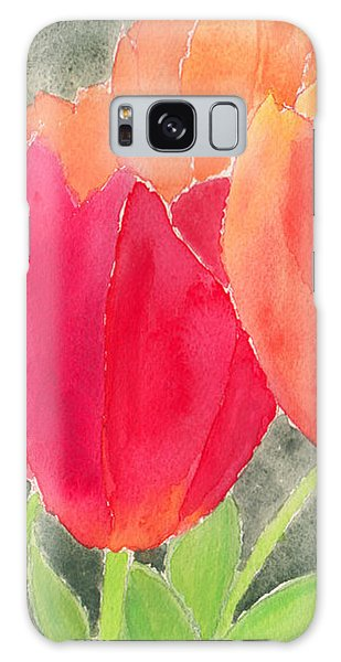 Orange And Red Tulips Galaxy Case