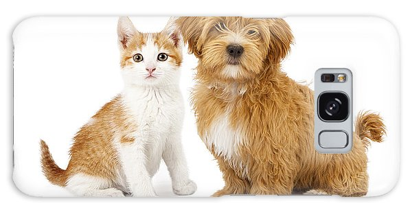 Orange And White Puppy And Kitten Galaxy Case