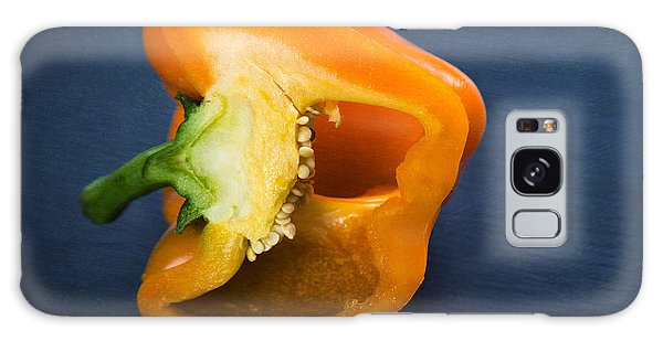 Orange Bell Pepper Blue Texture Galaxy Case by Matthias Hauser