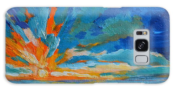 Orange Blue Sunset Landscape Galaxy Case