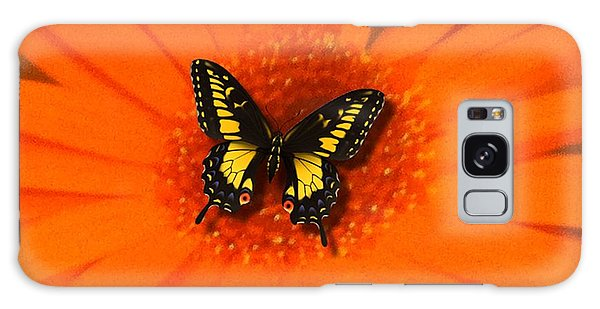 Orange Flower And A Butterfly By Saribelle Rodriguez Galaxy Case by Saribelle Rodriguez