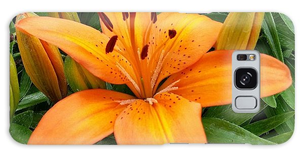 Orange Flower Galaxy Case by Rose Wang