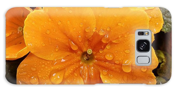 Orange Galaxy Case - Orange Flower With Water Drops by Matthias Hauser