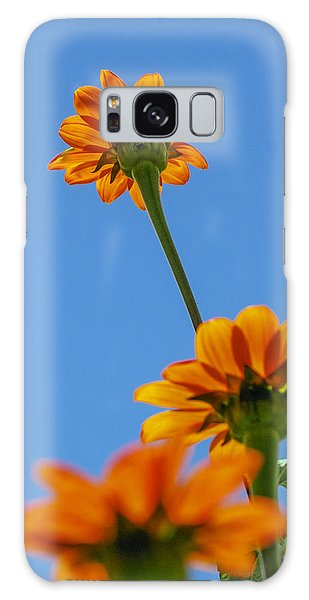 Orange Flowers On Blue Sky Galaxy Case