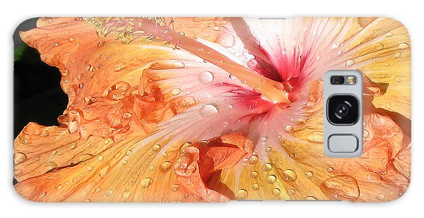 Orange Hibiscus After The Rain Galaxy Case by Connie Fox