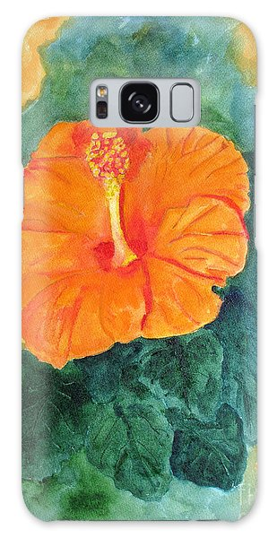 Orange Hibiscus Galaxy Case