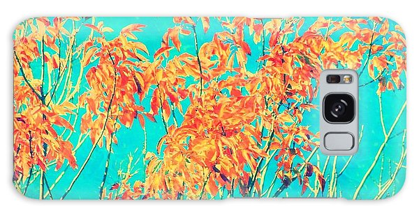Orange Leaves And Turquoise Sky  Galaxy Case