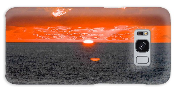 Orange Ocean Sunset Reflections Galaxy Case