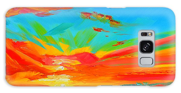 Orange Sunset Landscape Galaxy Case