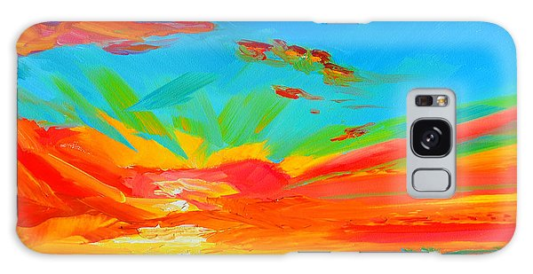Orange Sunset Landscape Galaxy Case