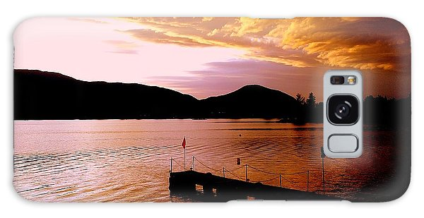 Orange Sunset Skaha Lake Galaxy Case by Guy Hoffman