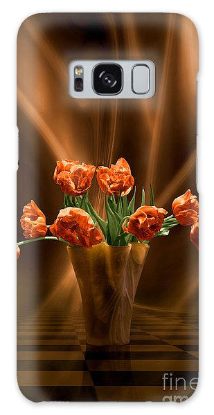 Orange Tulips In Floating Room Galaxy Case by Johnny Hildingsson