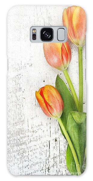 Orange Tulips Galaxy Case by Stephanie Frey