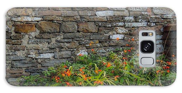Orange Wildflowers Against Stone Wall Galaxy Case