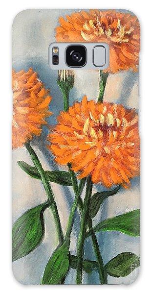Orange Zinnias Galaxy Case by Randy Burns