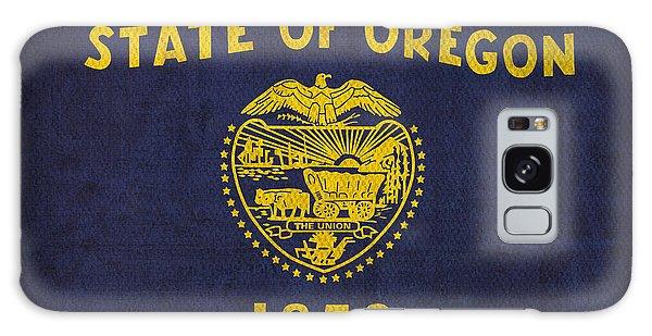 Oregon State Flag Art On Worn Canvas Galaxy Case