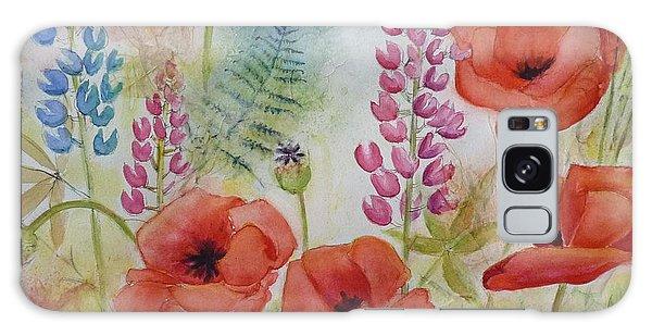 Oriental Poppies Meadow Galaxy Case by Carla Parris