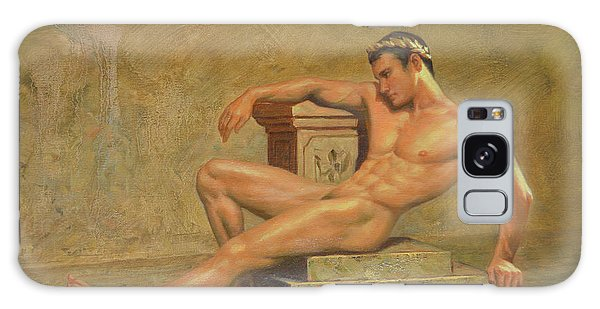 Original Classic Oil Painting Gay Man Body Art Male Nude -023 Galaxy Case