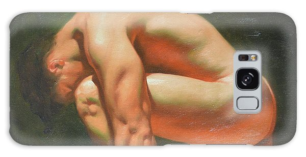 Original Classic Oil Painting Man Body Art-male Nude -042 Galaxy Case