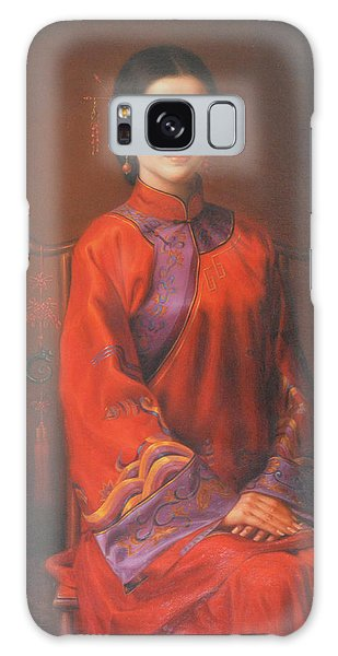 Original Classic Portrait Oil Painting Woman Art - Beautiful Chinese Bride Girl Galaxy Case