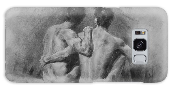 Original Drawing Sketch Charcoal Chalk Male Nude Gay Man Art Pencil On Paper By Hongtao Galaxy Case