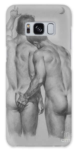 Original Drawing Sketch Charcoal Chalk Male Nude Gay Man Moon Art Pencil On Paper By Hongtao Galaxy Case