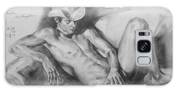 Original Drawing Sketch Charcoal Chalk Male Nude Gay Man On Sofa Art Pencil On Paper By Hongtao Galaxy Case