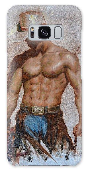 Original Oil Painting Gay Man Body Art-cowboy#16-2-5-19 Galaxy Case