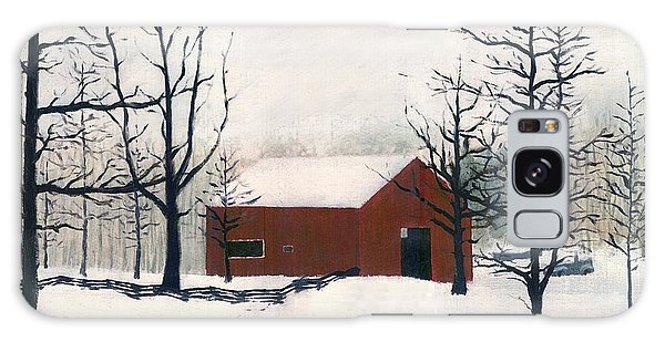 Original Painting Red Barn Snow Maryland Galaxy Case