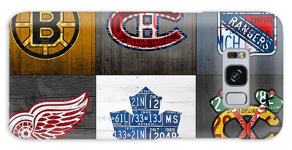 Six Galaxy Case - Original Six Hockey Team Retro Logo Vintage Recycled License Plate Art by Design Turnpike