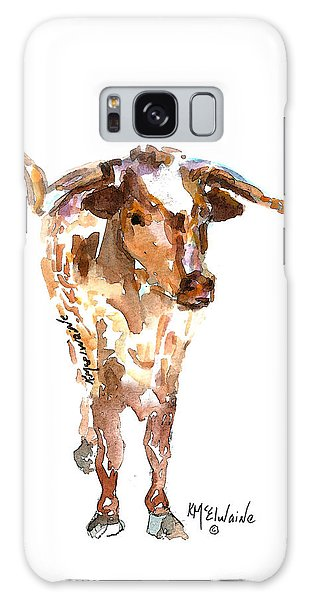 Original Longhorn Standing Earth Quack Watercolor Painting By Kmcelwaine Galaxy Case by Kathleen McElwaine
