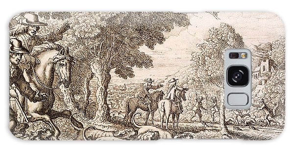 Otter Hunting By A River, Engraved Galaxy Case by Francis Barlow