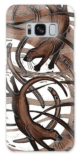 Otter Galaxy Case - Otter With Eel, 2013 Woodcut by Nat Morley