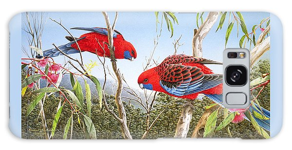 Our Beautiful Home - Crimson Rosellas Galaxy Case by Frances McMahon