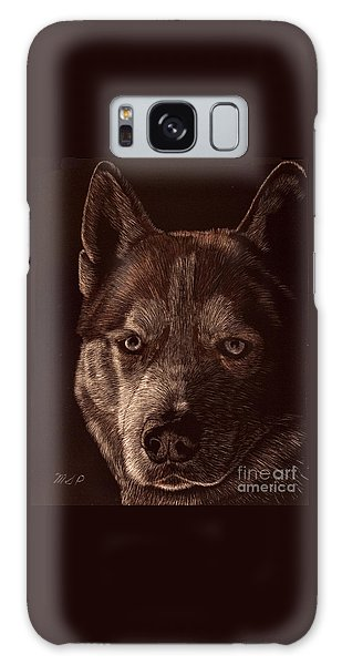 Out Of The Darkness Portrait Of A Husky Galaxy Case
