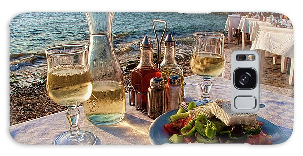 Outdoor Dining Galaxy Case - Outdoor Cafe In Little Venice In Mykonos Greece by David Smith